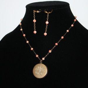 Vintage gold coral locket necklace earrings set